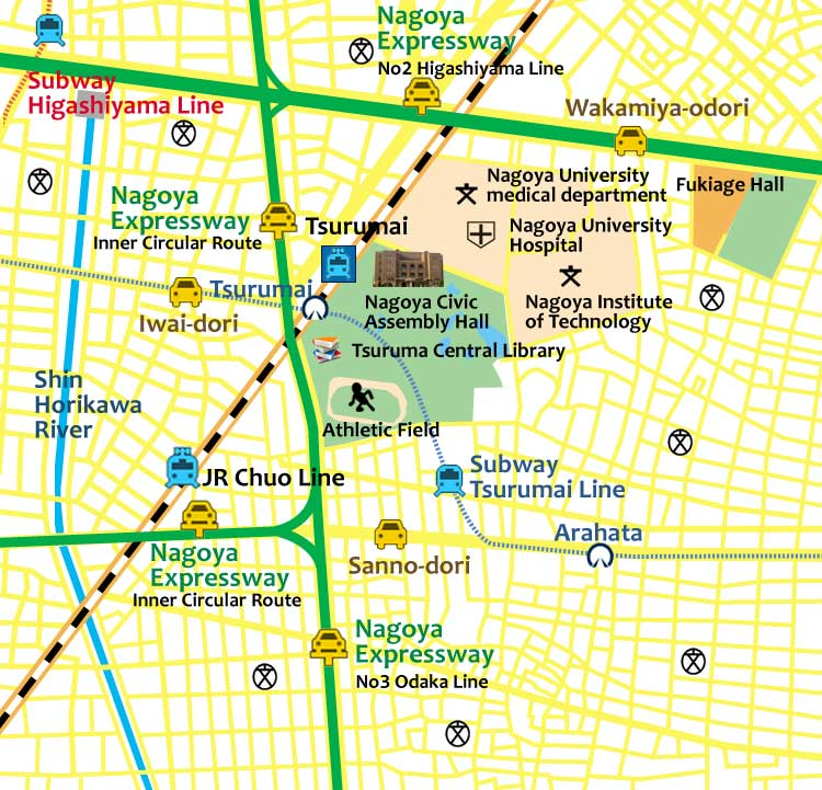 The Nagoya castle town (present)